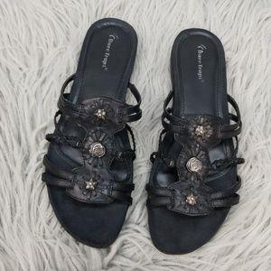 BareTrap Black Silver Mandy Sandals Size 11